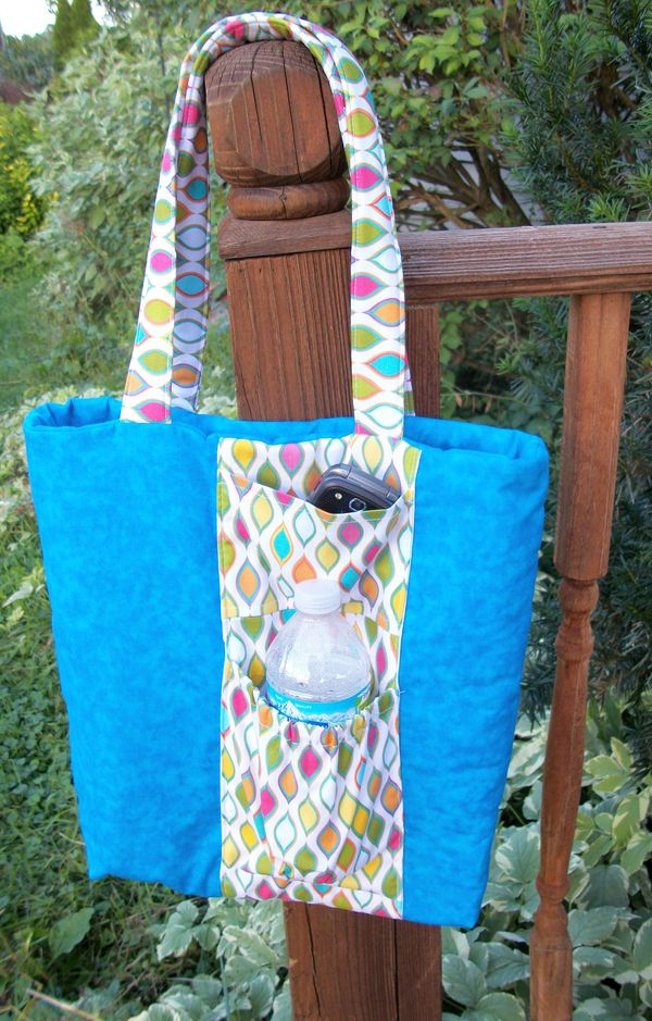 Tote With Water Bottle Pocket Pdf Sewing Pattern Flower